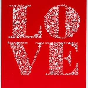 """Love"" Art Print in Poppy Red"