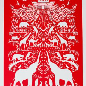 Ark Art Print in Poppy Red