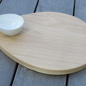 Raw oak Teardrop Board with Ceramic Bowl